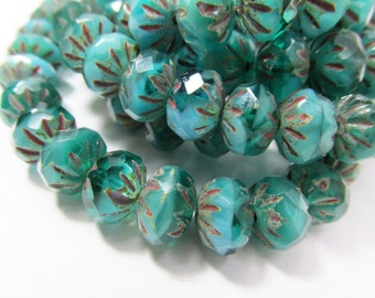 10 Opaque Teal Turquoise Picasso Czech Glass 6x9mm faceted carved Cruller rondelle Jewelry beads - Choose your quantity