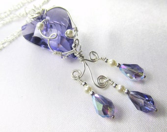 Swarovski Purple Tanzanite Wired Wild Heart Necklace in Sterling with Tanzanite AB Teardrops and White Pearls - Radiant Orchid Collection
