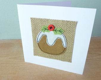 Applique Pudding Christmas textile card