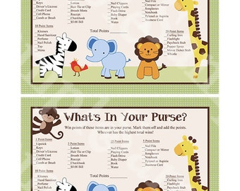 """Printable """"Jungle Buddies/Animal Friends/Safari Pals"""" What's in Your Purse Game Instant Digital Download"""