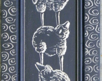 Stacked Sheep Carved/Etched on a Recycled Wooden Cabinet Door