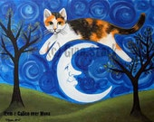 Jumping Calico Cat over Crescent Moon Face Whimsical Folk Art magnet