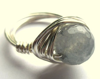 Aquamarine Dusky Blue Stone Wire Wrapped Ring Fashion Jewelry