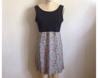 Vintage 1990s sleeveless checkered floral dress