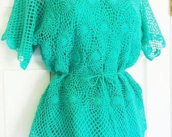Vintage Art Silk Green Crochet 2-Piece Dress I.A.P. Calif M-L ON SALE