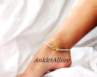 Gold Ribbon Anklet Childhood Cancer Awareness Ankle Bracelet Genuine Pearl Ankle Bracelet