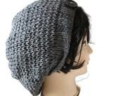 Hand knit Slouchy Beanie, Womens Slouchy Beanie, Grey Hat, Winter Hat