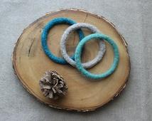 Felt Bangles, Wool Felt Bracelets, Knit Bangles, Knit Bracelets, Felt Cuff, Turquoise Aqua Bracelets, Gift under 20, Ocean Inspired