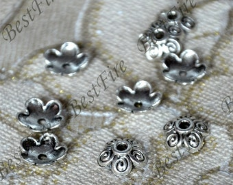 40 pcs of Antique Silver metal hollow leaf flower bead cups 10x10 mm,beadcap findings,beads,findings beads