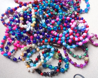 10 Stretchy Bracelets Glass with Focal Bead Lot of 10 Handmade