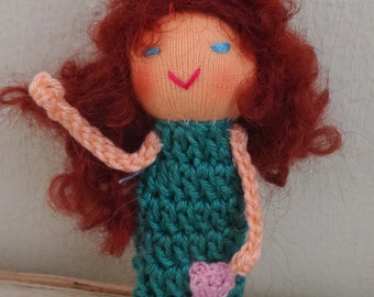 Finger Puppet Teal Girl, Small Doll, Crochet Finger Puppet,