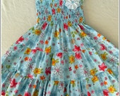 Girls blue tiered dress, Colorful flowered dress, Summer dress,Aqua blue party dress, Tiered dress for girls,Flowered birthday dress