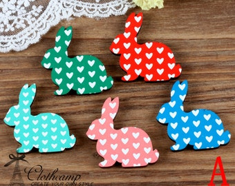 5PCS Handmade Colorful Rabbit  Laser Cut wood Charms / Pendants-(WK-A)