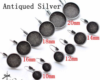 10Pcs 10mm 12mm 14mm 16mm 18mm 20mm Vintage Style Antiqued Silver plated  brass Earring ear hook Hoop with Round settings  (EAR-201-206)