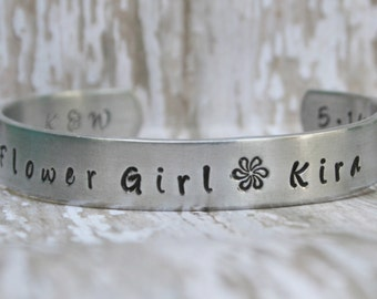 Flower Girl Bracelet Toddler or Child Size NAME WEDDING PARTY Hand Stamped Jewelry Custom Cuff Aluminum Personalized Customize Little Girl