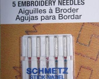 Schmetz 5 embroidery needles #1742