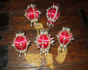 Vintage Christmas Ornaments Five Red Satin Balls Pearls Beads Silver Gold Trims Tassels 1970's Handmade OOAK