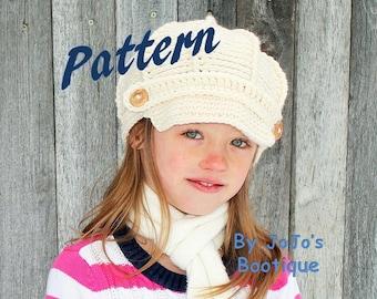 NEW! PDF Newsboy Hat PATTERN Child to Adult Sizes - Newsboy Hat - 2T - Adult Sizes -Crochet Newsboy Hat -  by JoJosBootique