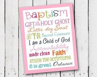 LDS Girl Baptism Subway Art - Instant Download