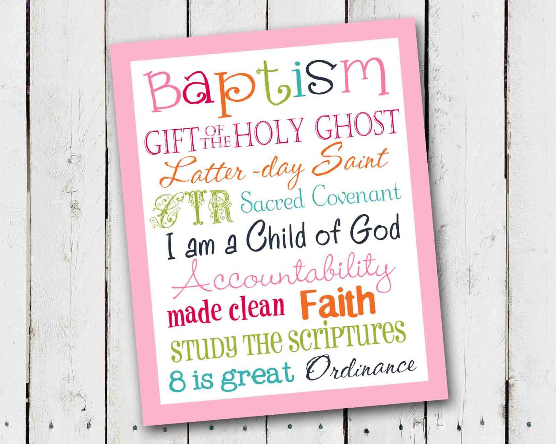 Lds Girl Baptism Subway Art Instant Download