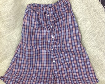 Blue and red and white plaid shirt skirt! Size 4