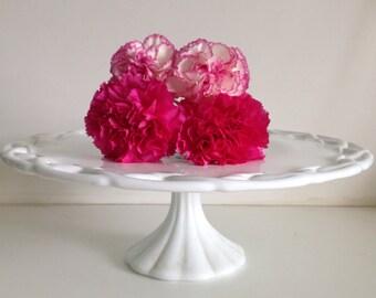 "Milk Glass Cake Stand / 14"" Wedding Cake Pedestal for Weddings"