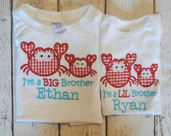 I'm The Big/Lil Brother/Sister with Crabs Embroidered Personalized Shirt or Bodysuit