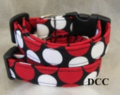 Dog Collar Classic Fun Black Red White Dots Dot Adjustable Dog Collar Ring Choose Size Accessories Pet Pets Lines Stripes Stripe Collars