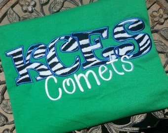 School Mascot Shirt with School initials and Mascot Name