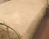 Vintage Crocheted Bedspread with Fringe - Handmade - Ecru Cotton Thread - 91 X 105 Inches - NC