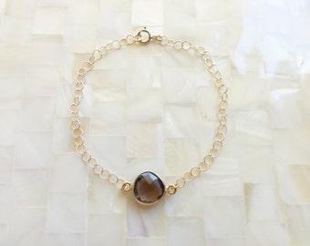 Step-Cut Faceted Smoky Quartz Vermeil Bezel Round Connector on Gold Chain Bracelet (B1166)