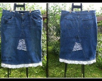 DELAROSA Lilly Lace Jean skirt Jean Skirt Custom Your Size  choose your size and length size 0 1 2 4 6 8 10 12 14 16 18 20 22 24 26