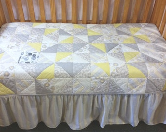Baby Quilt,  Crib Bedding, Toddler Bedding, Riley Blake, Willow, Nursery Bedding, Yellow, Gray, Crib Skirt, Crib Sheet, Bumper Pads,