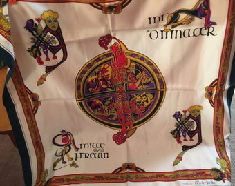 Scarf large square: the book of  Kells, Celtic language and artwork