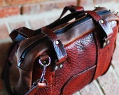 Unique buffalo leather bag in rich brown for men and women/ ipad bag/camera bag/ briefcase Christmas gift  - Handmade in the U.S.A.