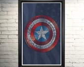 Captain America word art print - 11x17""