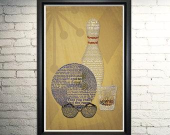 "Big Lebowski word art print - 11x17"""