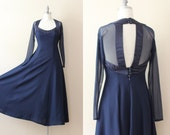 SALE - Open Back Dress . Navy Sheer Dress . 50s Button Back Dress