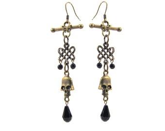 Antiqued Brass Celtic Knot and Scull 85mm Long Dangling Earrings, ER-0085