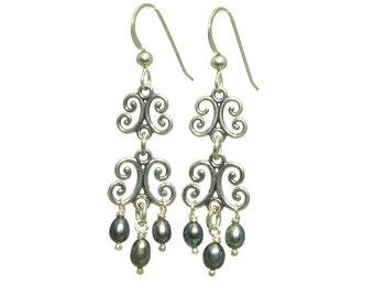 Pearls Drop Earrings, Bridesmaid Gift, Bridesmaid Earrings, Sterling Silver and Cultured Black Pearls Dangling Earrings, ER-0179