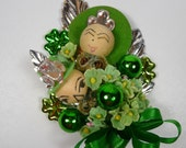 St Patrick's Day Corsage Vintage Spun Cotton Leprechauns Lucky Green Shamrocks Irish Party Retro Decoration