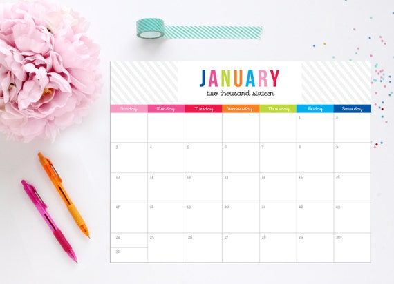 2016 Editable Calendar Colorful Design Instant Download Calendar by ...