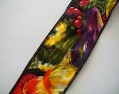 SALE - Ribbon Destash ~ Vintage Vegetable Fall Harvest Print Wire Edged Ribbon by Horizon Fabrics
