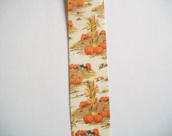 Ribbon Destash ~ Vintage Corn Stalk Fall Scene Flat Edged Ribbon