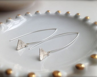 Tiny Burst Triangle Sterling Silver Earrings