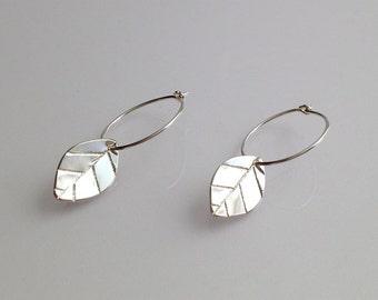 Mint Leaf Sterling Silver Earrings Small Hoop
