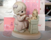 "1994 Precious Moments Members Only ""Sharing"" Little Girl Feeding Her Teddy Bear Figurine"