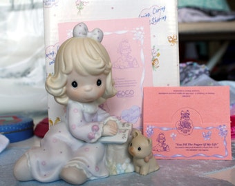 "1994 Precious Moments Members Only ""You Fill The Pages Of My Life"" Girl Journaling Figurine"