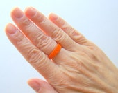 Skinny Bead Ring in Bright Orange // Minimalist Seed Bead Ring // Narrow Band Peyote Beadwoven Ring // Unisex Ring for Men or Women