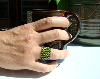 Mens Beaded Ring in Black and Yellow Chevron Stripes  Gift for Him  Man Ring  Peyote Seed Bead Ring  Mens Jewelry Thumb Ring - RG0002